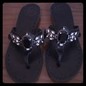 BCBG Leather Rhinestone Black Bling Sandals